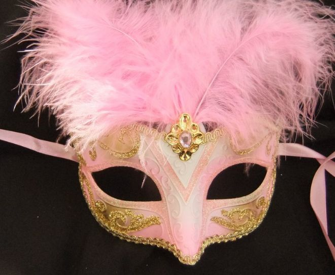 Pink & Gold Feathered Petite Mask (1)